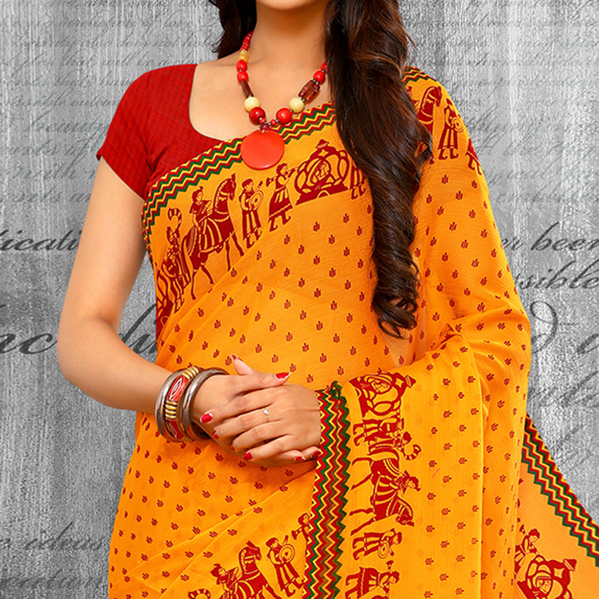 Exceptional Yellow Colored Casual Wear Printed Chiffon Saree