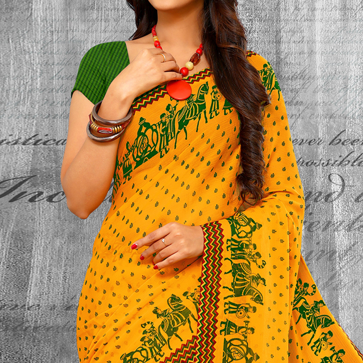 Mesmeric Yellow Colored Casual Wear Printed Chiffon Saree