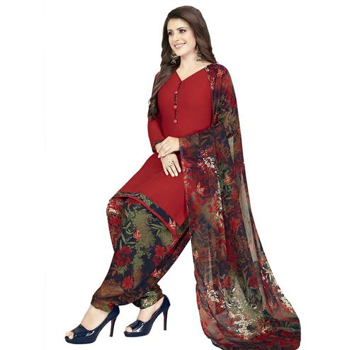Adorable Maroon Colored Casual Printed Crepe Patiala Dress Material
