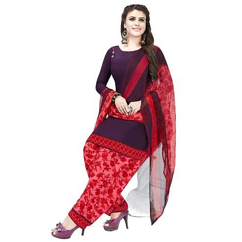 Glorious Purple Colored Casual Printed Crepe Patiala Dress Material