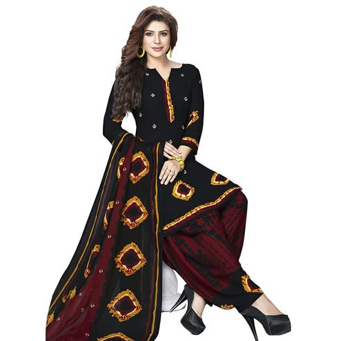 Attractive Black Colored Casual Printed Crepe Patiala Dress Material
