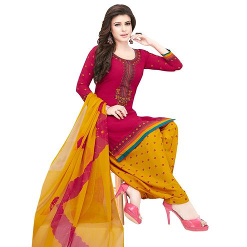 Beautiful Pink Colored Casual Printed Crepe Patiala Dress Material
