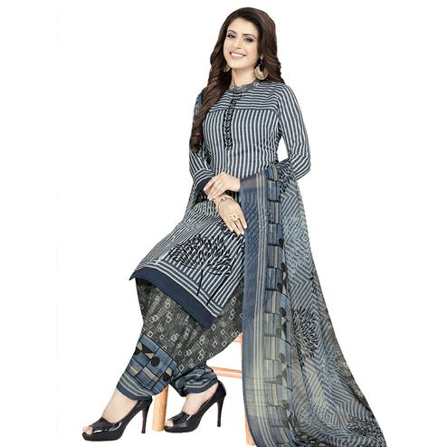 Graceful Grey Colored Casual Printed Crepe Patiala Dress Material