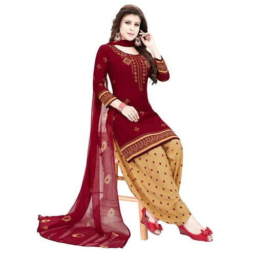 Charming Maroon Colored Casual Printed Crepe Patiala Dress Material