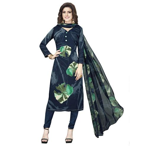 Jazzy Dark Navy Blue Colored Casual Printed Crepe Churidar Dress Material