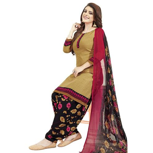 Delightful Brown Colored Casual Printed Crepe Patiala Dress Material