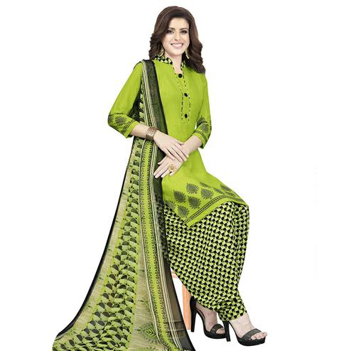 Gorgeous Green Colored Casual Printed Crepe Patiala Dress Material