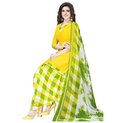 Blissful Yellow Colored Casual Printed Crepe Patiala Dress Material