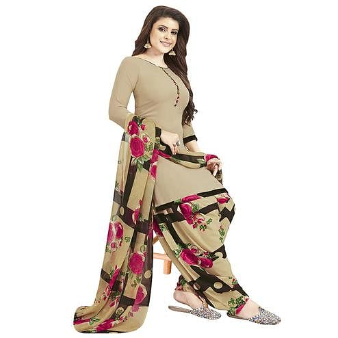 Ideal Beige Colored Casual Printed Crepe Patiala Dress Material