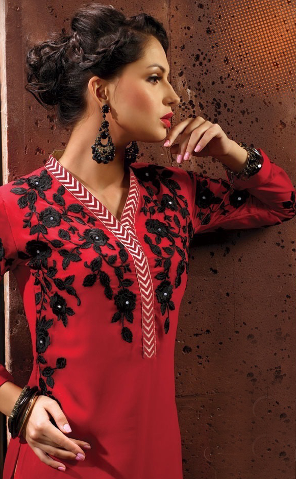 Red Embroidered Work Kurti