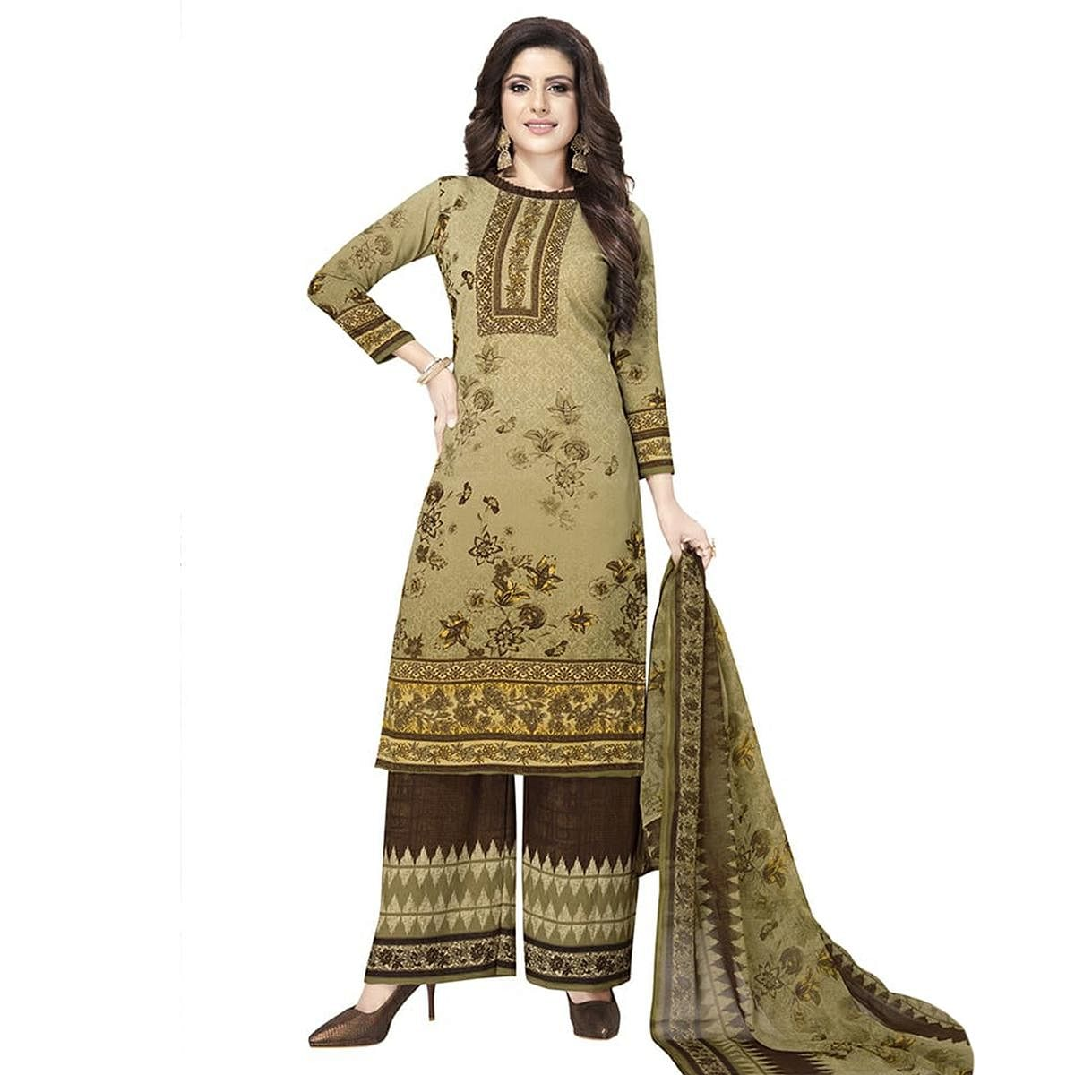 Mesmerising Light Olive Green Colored Casual Printed Crepe Dress Material