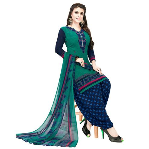 Breathtaking Turquoise Green Colored Casual Printed Crepe Patiala Dress Material