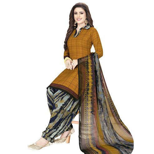 Ethnic Dark Mustard Yellow Colored Casual Printed Crepe Patiala Dress Material