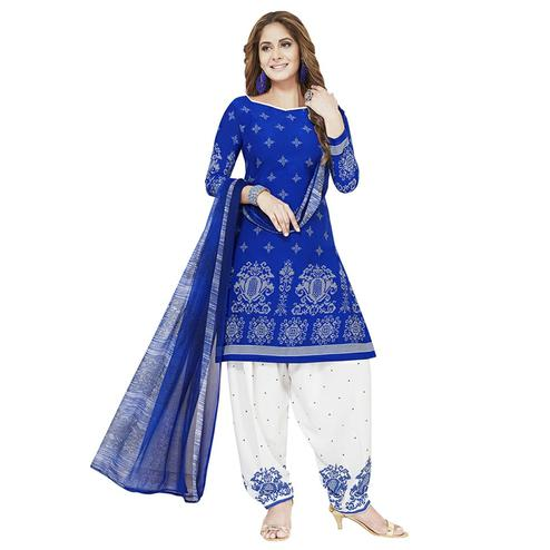 Ravishing Blue Colored Casual Printed Crepe Patiala Dress Material