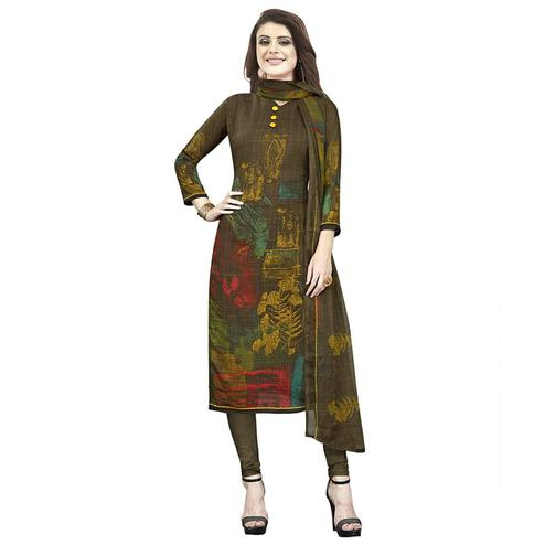 Staring Dark Brown Colored Casual Printed Crepe Churidar Dress Material