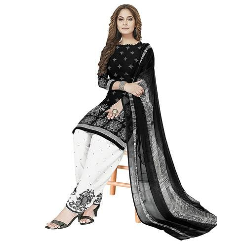 Dazzling Black Colored Casual Printed Crepe Patiala Dress Material