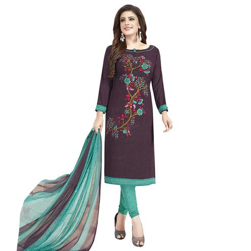 Surpassing Wine Colored Casual Printed Crepe Churidar Dress Material