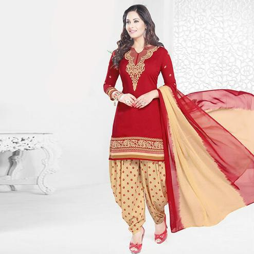 Arresting Red Colored Casual Printed Crepe Patiala Dress Material