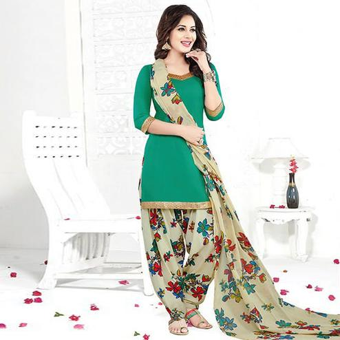 Desirable Turquoise Green Colored Casual Printed Crepe Patiala Dress Material