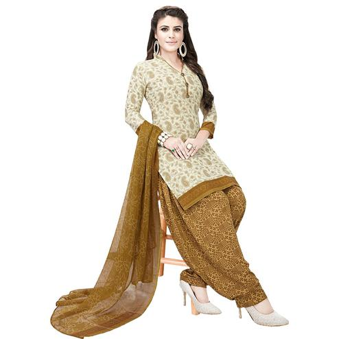 Exotic Off White Colored Casual Printed Crepe Patiala Dress Material