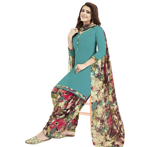 Radiant Blue Colored Casual Printed Crepe Patiala Dress Material