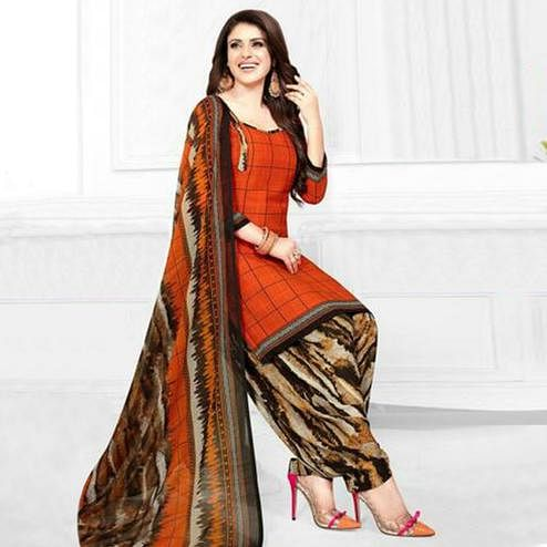 Pleasant Orange Colored Casual Printed Crepe Patiala Dress Material