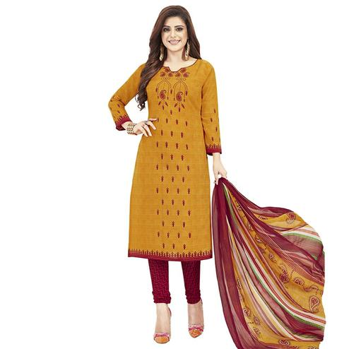 Opulent Orange Colored Casual Printed Crepe Dress Material
