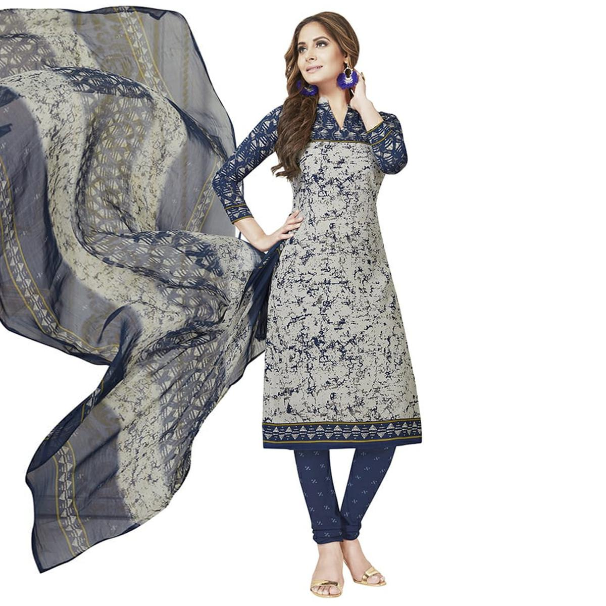Glowing Grey Colored Casual Printed Crepe Dress Material