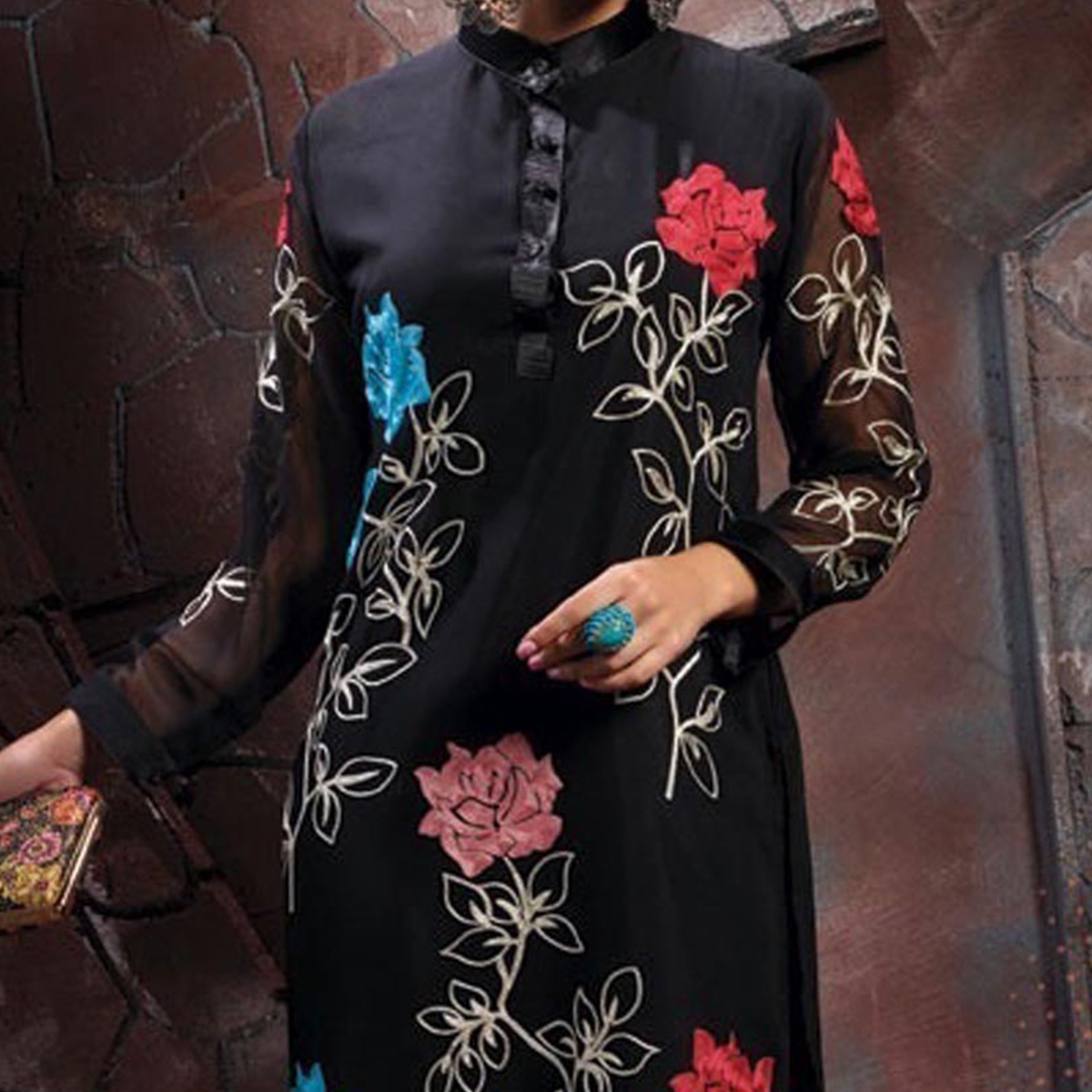 Black Party Wear Embroidered Stitched Kurti