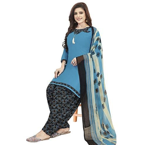 Exceptional Sky Blue Colored Casual Printed Crepe Patiala Dress Material