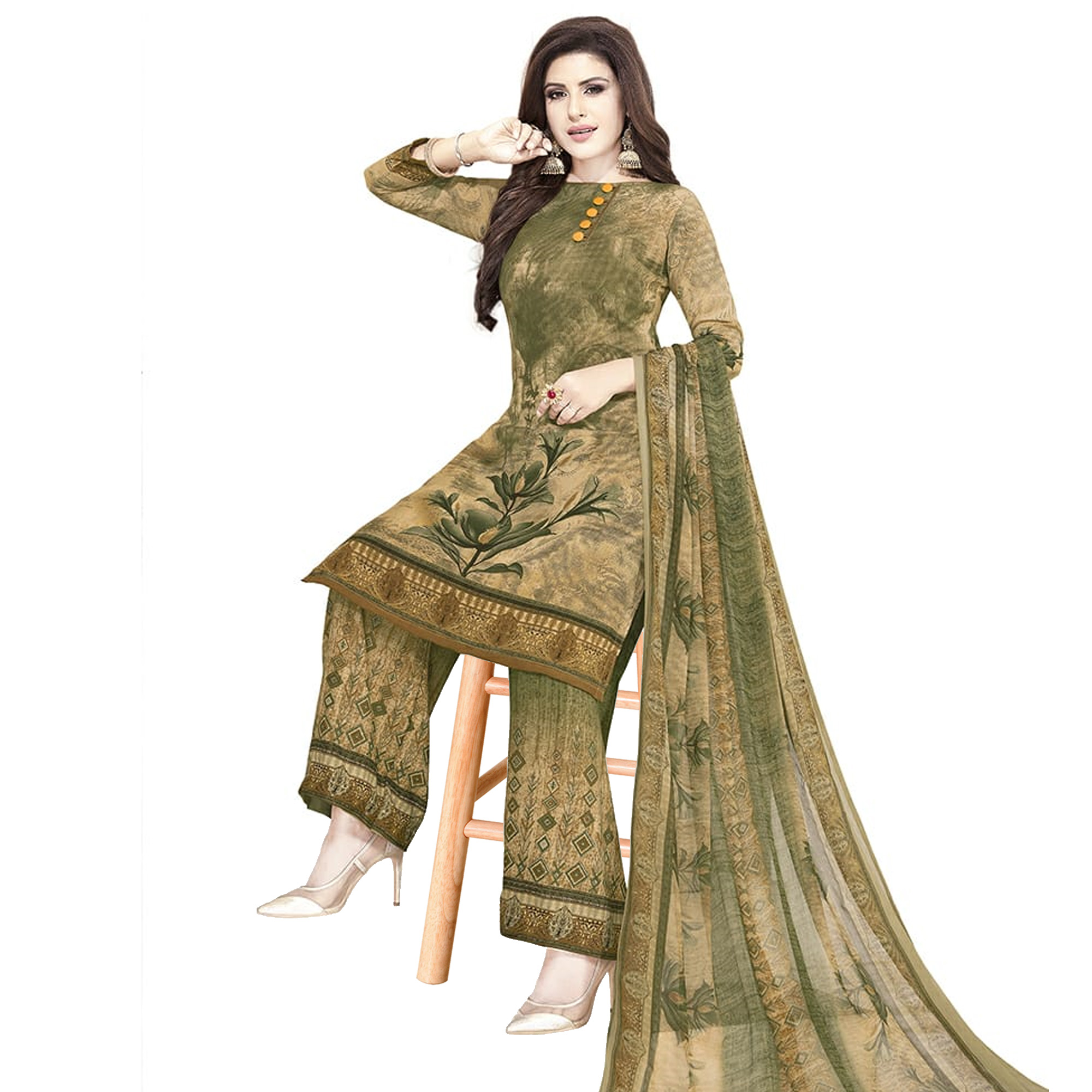 Mesmeric Beige-Olive Green Colored Casual Printed Crepe Dress Material