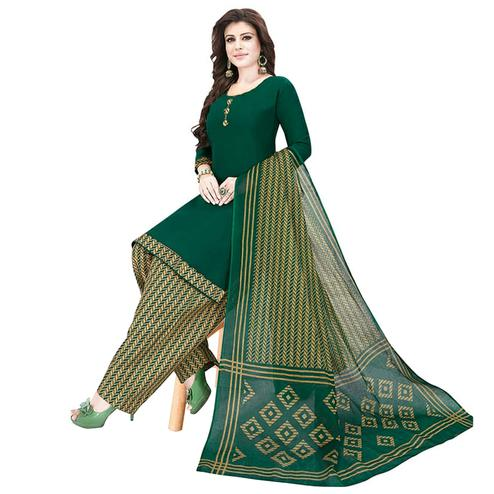 Demanding Dark Green Colored Casual Printed Crepe Patiala Dress Material