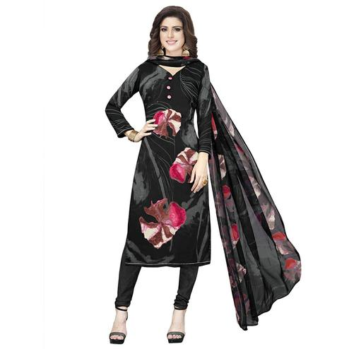 Refreshing Black Colored Casual Printed Crepe Dress Material