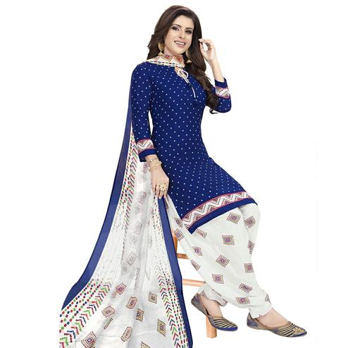 Magnetic Blue Colored Casual Printed Crepe Patiala Dress Material