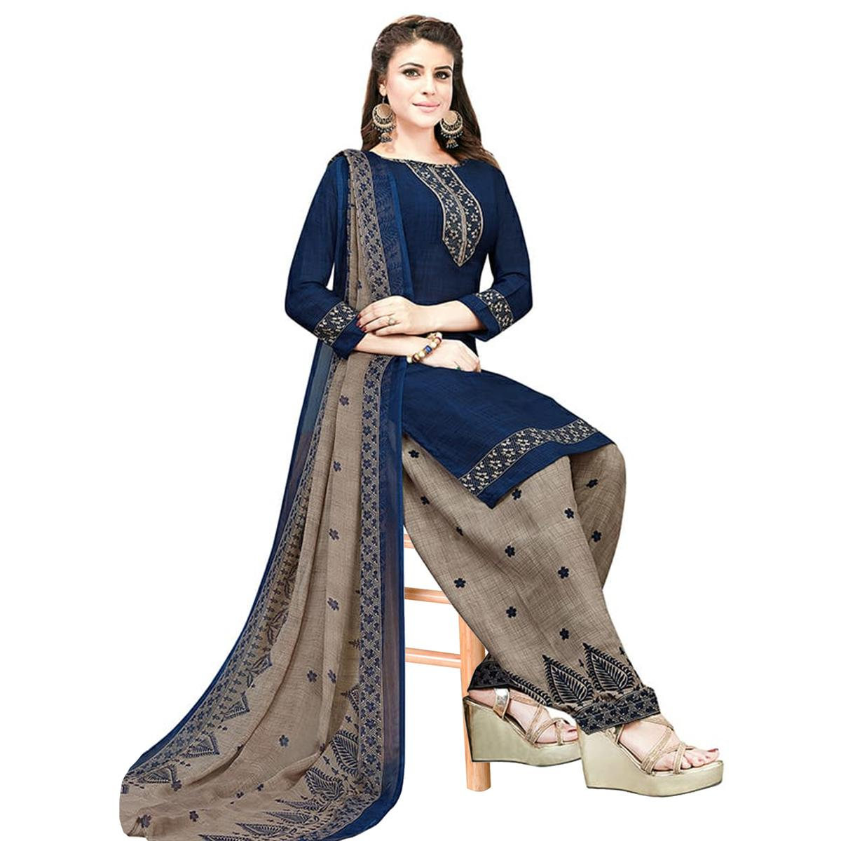 Hypnotic Navy Blue Colored Casual Printed Crepe Patiala Dress Material