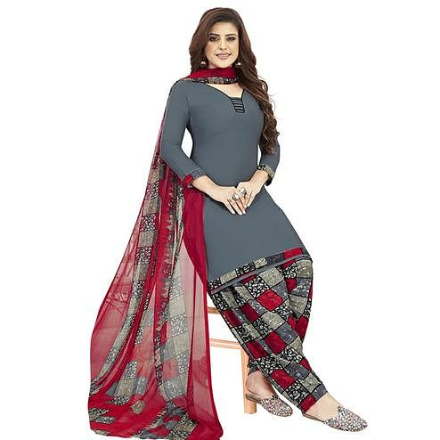 Excellent Grey Colored Casual Printed Crepe Patiala Dress Material