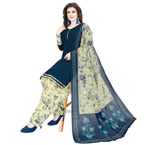 Preferable Teal Blue Colored Casual Printed Crepe Patiala Dress Material