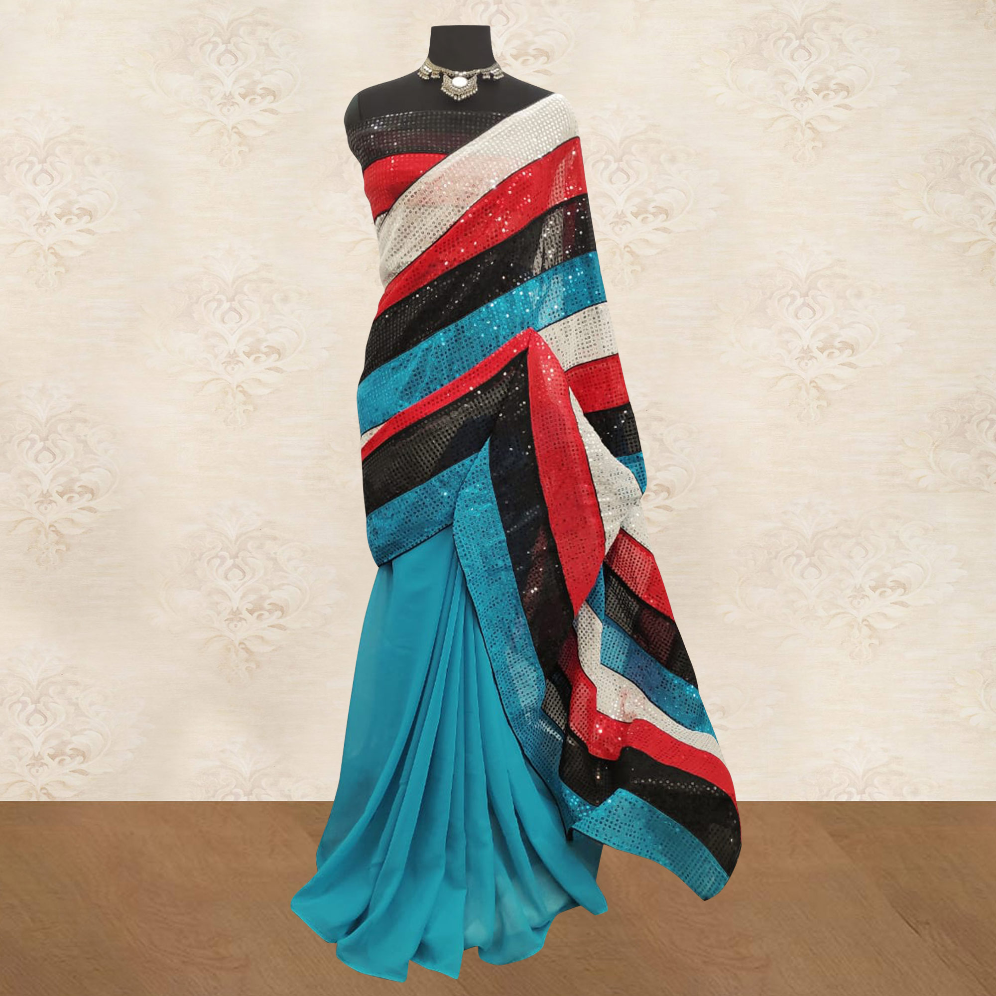 Classy Blue-Multi Colored Party Wear Embroidered Georgette Half & Half Saree