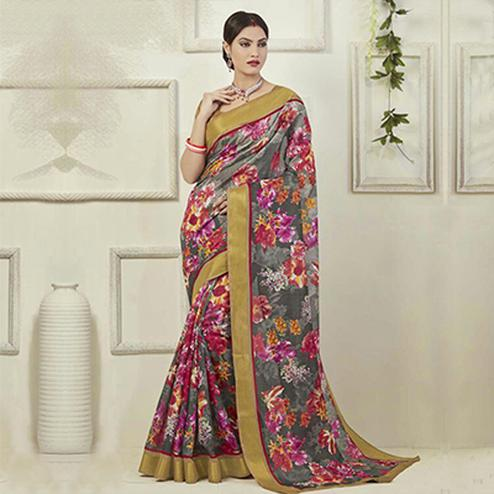 Grey - Multicolored Printed Art Silk Saree