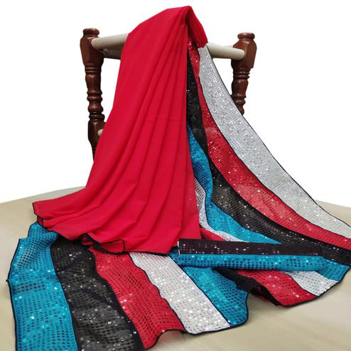 Groovy Red-Multi Colored Party Wear Embroidered Georgette Half & Half Saree