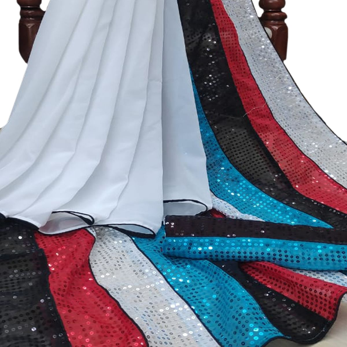 Adorning White-Multi Colored Party Wear Embroidered Georgette Half & Half Saree