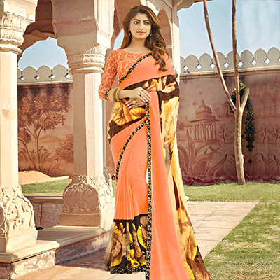 Orange Digital Printed Casual Saree