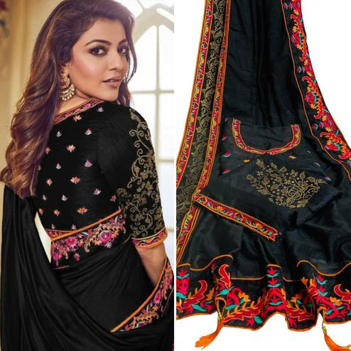 Adorable Black Colored Party Wear Embroidered Art Silk Saree With Tassels