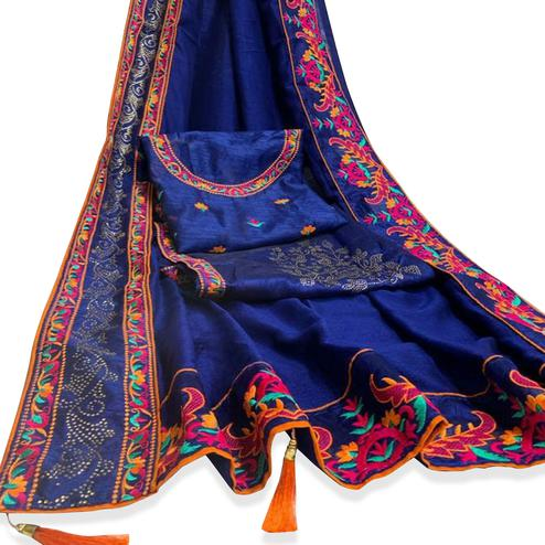 Glorious Blue Colored Party Wear Embroidered Art Silk Saree With Tassels