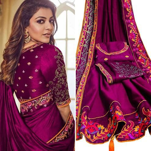 Attractive Wine Colored Party Wear Embroidered Art Silk Saree With Tassels