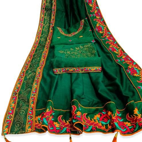 Beautiful Green Colored Party Wear Embroidered Art Silk Saree With Tassels