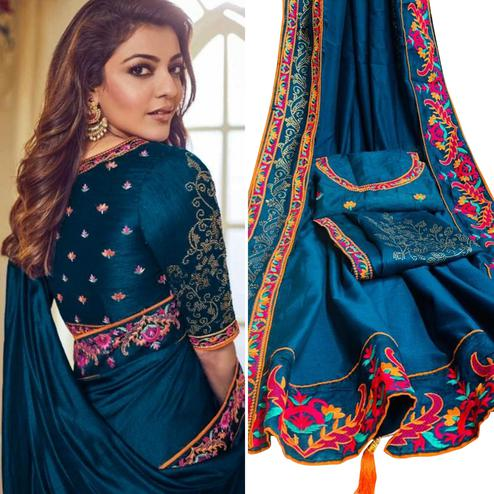 Graceful Teal Blue Colored Party Wear Embroidered Art Silk Saree With Tassels