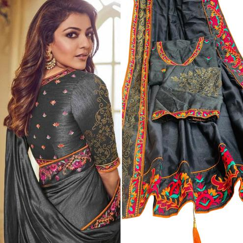 Blooming Grey Colored Party Wear Embroidered Art Silk Saree With Tassels