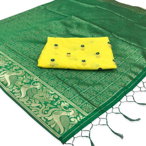 Imposing Green Colored Festive Wear Woven Banarasi Silk Saree With Tassels