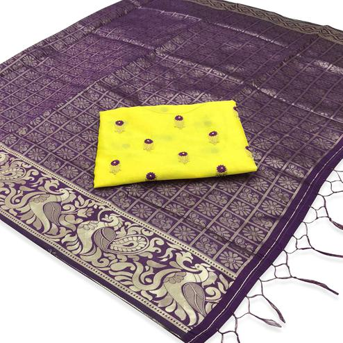 Lovely Purple Colored Festive Wear Woven Banarasi Silk Saree With Tassels